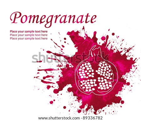 Watercolor pomegranate isolated on white background