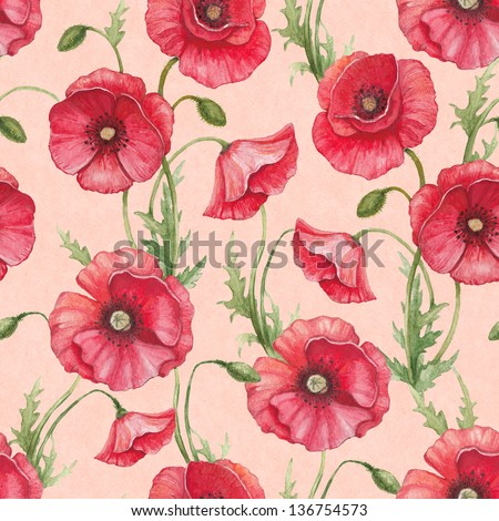 Watercolor poppy flowers, seamless pattern