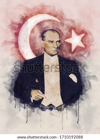 Watercolor portrait illustration of Mustafa Kemal Ataturk with turkish flag on background