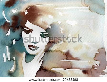Watercolor portrait of a sensual woman stock photo