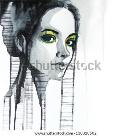 Stock Photo watercolor portrait of beautiful girl | handmade | self made | painting