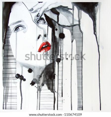 watercolor portrait of beautiful girl | handmade | self made | painting