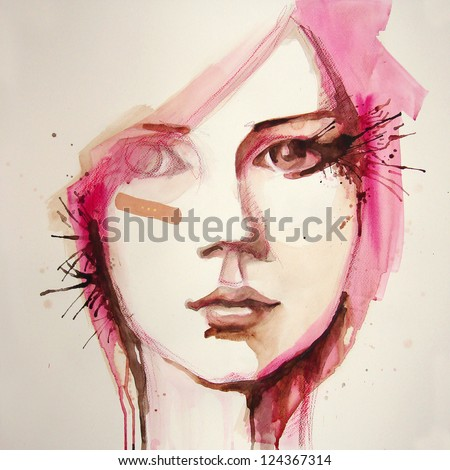 watercolor portrait of beautiful girl handmade self made painting