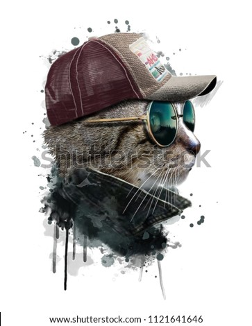Watercolor portrait of cool Cat with glasses. Hand drawn illustration.Animal graphics.Custom print design for all types of surfaces.