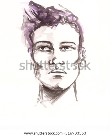 Watercolor portrait of man model. Beauty and fashion illustration.
