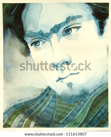 watercolor portrait of young man | handmade | self made | painting