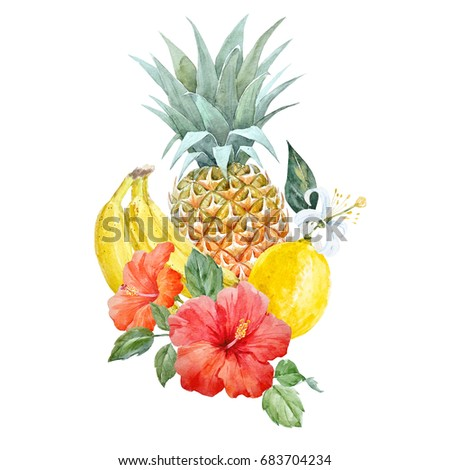 Watercolor print of pineapple,  hibiscus flower, lemon and  bananas ,  palm leaves, summer invitation card