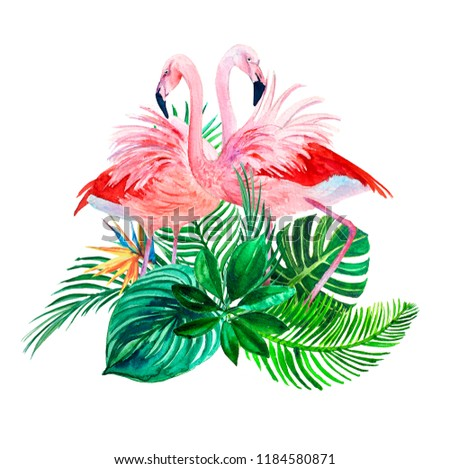 Watercolor print tropical leaves and pink flamingo love.