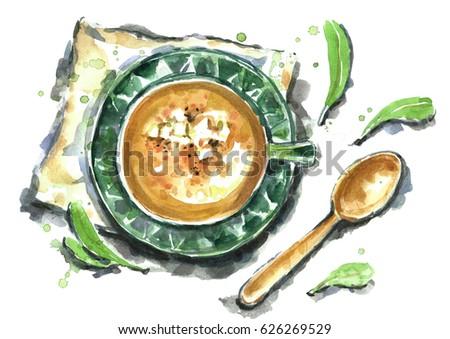 Watercolor pumpkin soup.
