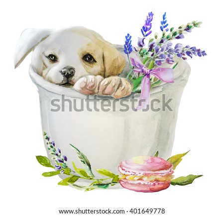 Stock Photo watercolor puppy with flowers