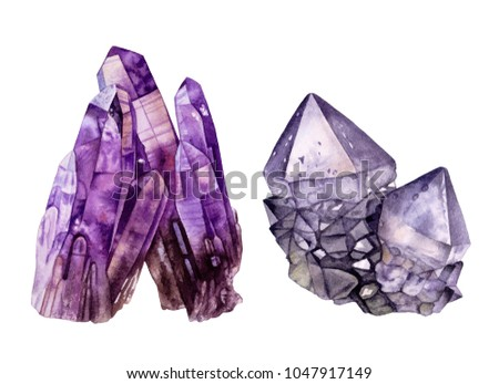 Watercolor purple crystals.  Amethyst crystals isolated  on white background. Healing  crystals. Crystal cluster.