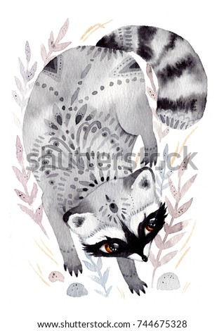Watercolor raccoon with ornaments. Hand drawn illustration with bird in boho style. Nursery printable poster
