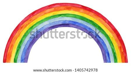 Watercolor Rainbow Illustration, Rainbow Clipart