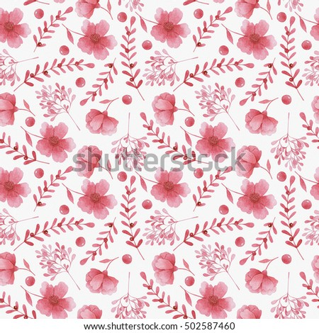 Watercolor red flowers