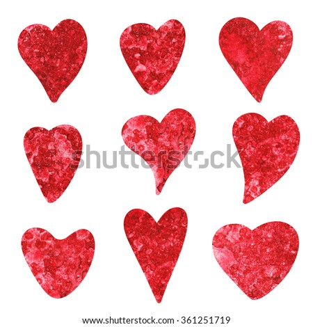 Watercolor red hearts icons set isolated on white background. Valentines day holiday card. Hand painting on paper. Art design element