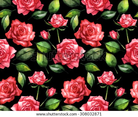Watercolor red roses. Seamless floral pattern