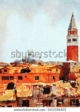 Watercolor representing a view of the tower and roofs of the cathedral of Venice from the balcony of a historic building in the historic center