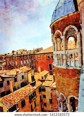 Watercolor representing a view of Venice from the balcony of a historic building in the historic center