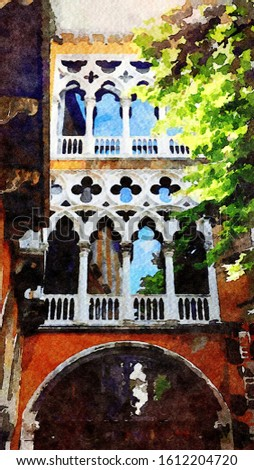 Watercolor representing the main facade of a historic building in the historic center of Venice