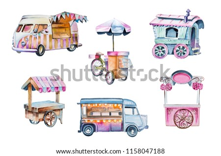 Watercolor retro carts hand paunted clipart  illustration.Food van and festival food truck.Food market storesclip art isolated on a white background.Design elements.