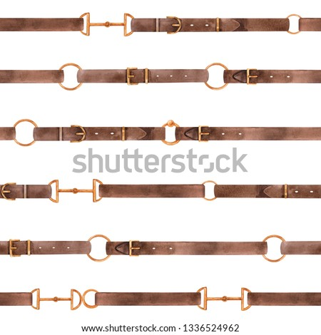 Watercolor retro pattern with leather straps, golden rings. Horizontal stripes