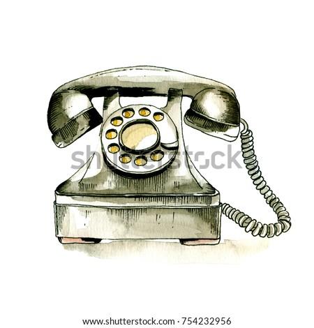 watercolor retro phone. sketch...