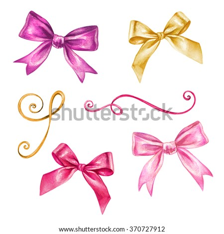 watercolor ribbon and bow romantic illustration, valentines day design elements isolated on white background, festive clip art