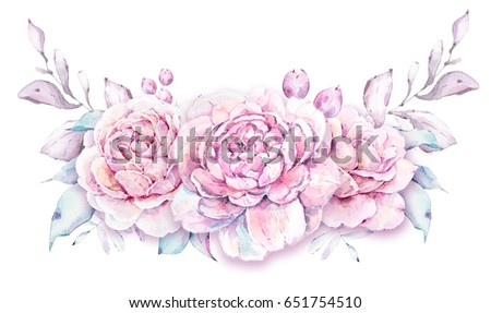 Watercolor romantic illustration. Perfect for wedding invitations, prints, logotype, greeting cards #651754510