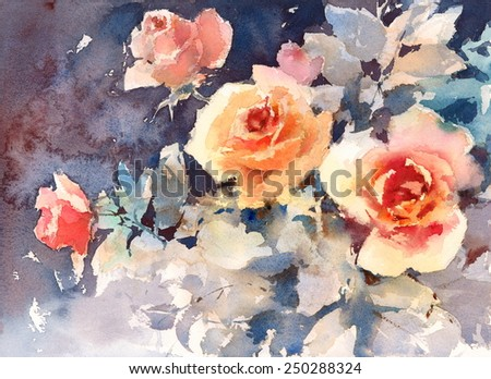 Watercolor Roses Flowers Floral Background Texture Hand Painted