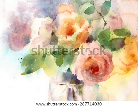 Watercolor Roses Flowers In The Vase Floral Background Texture Hand Painted