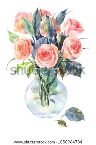 Watercolor roses in a glass vase isolated on a white background. Hand drawn pink flowers