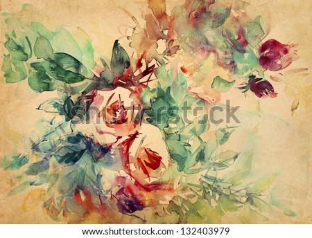 watercolor roses painted on beige tone paper