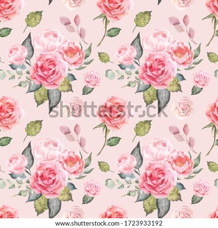 Watercolor roses summer garden flowers, pink flowers, pink roses, English roses, floral seamless pattern, background, digital paper, wallpaper, textile pattern, watercolor peonies, pompadour rose