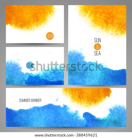 Stock Photo Watercolor sea background poster or card template art. Watercolor summer beach print set.