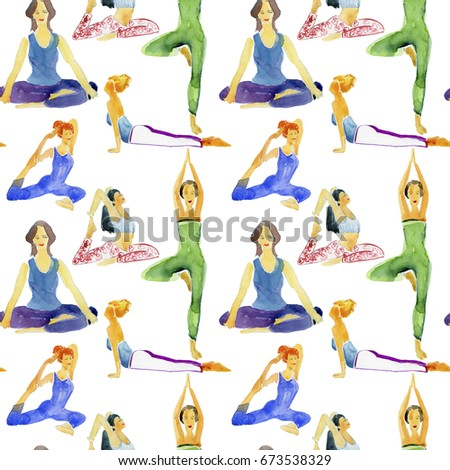 Watercolor seamless background with Happy relaxed young woman practicing yoga