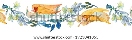 Watercolor seamless banner with angels and flowers. Easter ornament, wedding, church background, birthday decoration. Easter, Christmas, baptism, Pentecost, religious banner, Christian prints ストックフォト ©