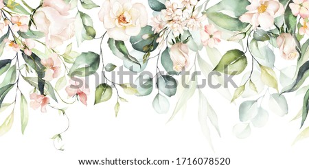 Watercolor seamless border - illustration with bright pink vivid flowers, green leaves, for wedding stationary, greetings, wallpapers, fashion, backgrounds, textures, DIY, wrappers, cards.