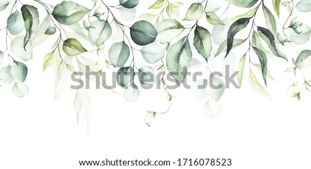 Watercolor seamless border - illustration with green leaves and branches, for wedding stationary, greetings, wallpapers, fashion, backgrounds, textures, DIY, wrappers, cards.