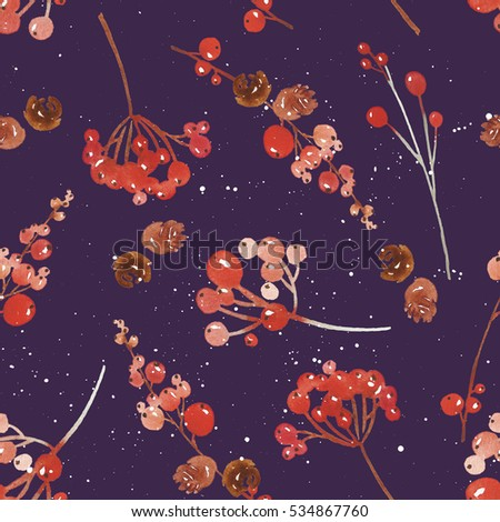 Watercolor seamless Christmas pattern handmade.
