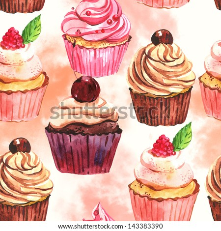 Watercolor seamless cupcake background
