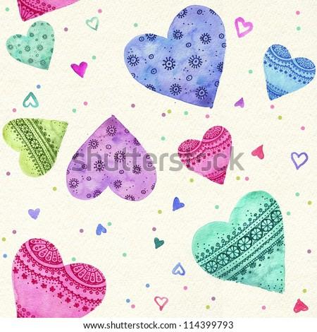 Watercolor seamless hearts pattern