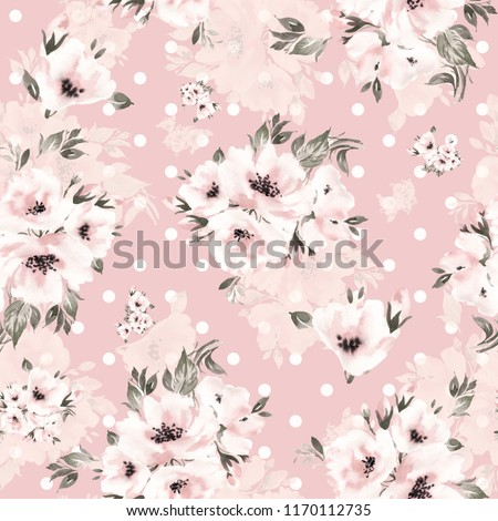 Watercolor seamless pattern beautiful bouquets