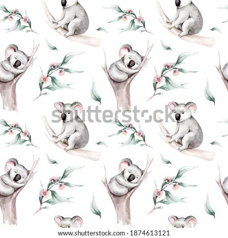 Watercolor seamless pattern cartoon baby koala tropical animal illustration. Jungle exotic summer print. Australian zoo isolated design