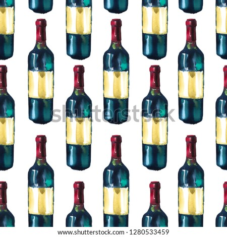 Watercolor seamless pattern. Fresh organic food. Set with red wine. Simple painting sketch. #1280533459