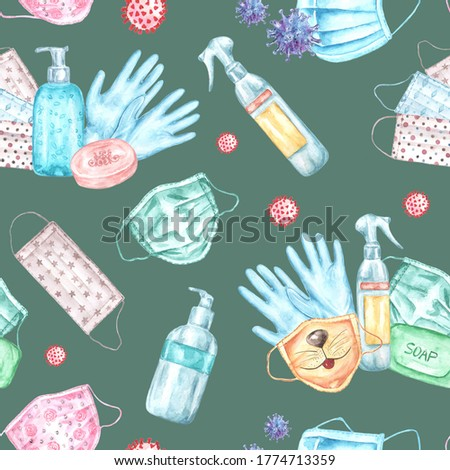 Watercolor seamless pattern Stop coronavirus. Disease prevention, medicine, hygiene, sanitation. Health care. Soap, mask, antiseptic, gloves, bacteria Kovid, soap. On a dark background. For printing  Stok fotoğraf ©