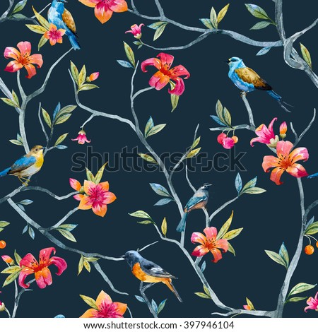 watercolor seamless pattern with birds and flowers, tree, soft spring wallpaper, pink flower, blue little bird, black background