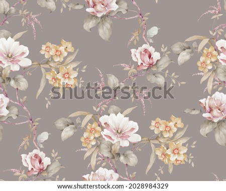 Watercolor seamless pattern with classic flowers. Perfect for wallpaper, fabric design, wrapping paper, surface textures, digital paper.
