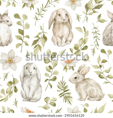 Watercolor seamless pattern with cute white rabbits and leaves. Wild animals, eucalyptus, flowers. Hand-drawn adorable hare, branch, plants. Springtime background