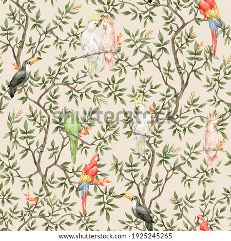 Watercolor seamless pattern with eden trees and colorful parrots. Tropical jungle and birds. Ara, toucan, cockatoo, in blossom tree. Vintage background in victorian style. Boho paradise jungle
