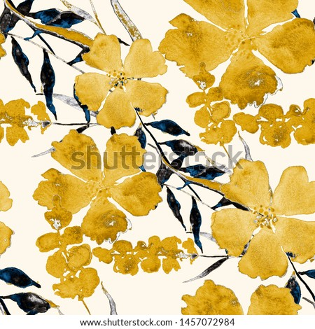 Watercolor seamless pattern with flowers. Floral design.Romantic wedding background.Bright summer seamless pattern. Botanical wallpaper. Can be used for any kind of design